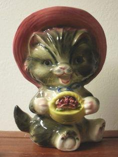 Vintage Lefton of Japan Ceramic Cat Kitten Wall Pocket Planter