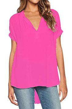 Dokotoo Womens V Neck Short Sleeve Oversize Chiffon Blouse Shirt X-Large Rose,Rose1,(US16-18)XL - http://www.darrenblogs.com/2017/02/dokotoo-womens-v-neck-short-sleeve-oversize-chiffon-blouse-shirt-x-large-roserose1us16-18xl/