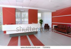 stock photo : Business office reception in white and red colors