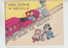 Vintage Train Sick Kitty In Wheel Barrel Get Well Greeting Card