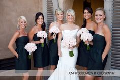 Black Bridesmaid dresses. Love the pale pink flowers