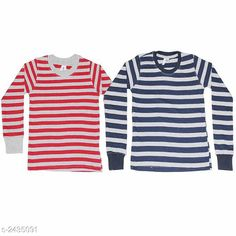 Tshirts & Polos Stunning Kid's Boy's Cotton T-Shirt (Pack Of 2) Fabric: Cotton  Sleeves: Full Sleeves Are Included Size: Age Group (0 - 1 Year) - 18 in Age Group (1 - 2 Years) - 20 in Age Group (2 - 3 Years) - 22 in Age Group (3 - 4 Years) - 24 in Age Group (4 - 5 Years) - 26 in Age Group (5 - 6 Years) - 28 in Age Group (6 - 7 Years) - 30 in Age Group (7 - 8 Years) - 30 in Age Group (8 - 9 Years) - 32 in Age Group (9 - 10 Years) - 32 in Type:Stitched  Description: It Has 2 Pieces Of Kid's Boy's T-Shirts Pattern: Striped Country of Origin: India Sizes Available: 2-3 Years, 3-4 Years, 4-5 Years, 5-6 Years, 6-7 Years, 7-8 Years, 8-9 Years, 9-10 Years, 10-11 Years, 0-1 Years, 1-2 Years   Catalog Rating: ★3.9 (4936)  Catalog Name: Stunning Kid's Boy's Cotton T-Shirts Vol 2 CatalogID_326319 C59-SC1173 Code: 222-2435091-474