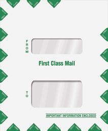 Double Window Tax Return Mailing Envelope - 9 1/2 x 11 1/2.  •Style: Portrait •Envelope Size: 9 1/2 x 11 1/2 •Top Window Size: 1 3/8 x 4 1/2 •Top Window From Left Side: 2 3/4 •Top Window From Bottom: 6 3/4 •Bottom Window Size: 2 3/8 x 4 1/2 •Bottom Window From Left Side: 2 3/4 •Bottom Window From Bottom: 2 1/16 •28lb White Wove stock •Flap Opening: Short side •Seal: Moisture