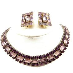 Amethyst Rhinestone Necklace Earring Set by EclecticVintager