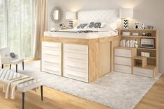 Get space saving innovative Impero-Young Bed with solid laminated beech wood desk at ITALform Design. The Impero-Young family is the best space saving choice for your children's bedroom! Space Saving Beds, Space Saving Furniture, Bed Storage, Storage Spaces, Bedroom Storage, Small Apartments, Small Spaces, High Beds, Bed With Slide