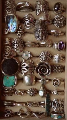 cool looking silver rings with stones | jewels silver earthy ring boho tumblr earth tones rings stone native ...