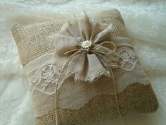 Rustic ring pillow in vintage lace and burlap by byStitchHappy, $30.00