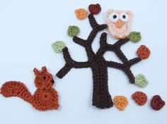 Crochet applique 1 crochet applique woodland by MyfanwysAppliques