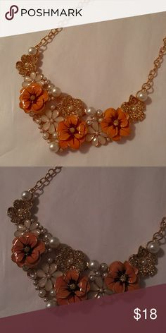 New Flowers & Pearls Bib Statement Necklace Beautiful Gold color necklace 18' L Beautiful acrylic coral/peach color and pearls. Pictures don't do justice! Simply stunning and delicate High quality jewelry piece. Jewelry Necklaces