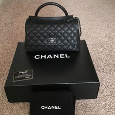 Chanel Coco Handle Bag Small Black Caviar Leather New with tag, authenticity card and came  with original Chanel box, dust bag and a beautiful Neiman Marcus gift box. $3600 after tax, $3300 before tax. Very rare. CHANEL Bags Crossbody Bags