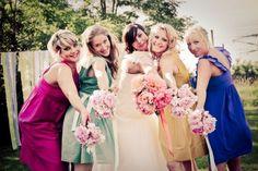 mix-match-bridesmaids-dresses - bright colour mix
