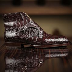 : Saint Crispin's Model 585 at Leatherfoot Dream Shoes, New Shoes, Men's Shoes, Latest Mens Fashion, Mens Fashion Shoes, Men's Fashion, Mens Shoes Boots, Shoe Boots, Crocodile Boots