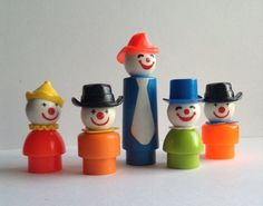 Great Vintage set of 5 Fisher Price Circus Clowns, Little People, figures, original, collectible, vintage toys, Greece on Etsy, $55.00