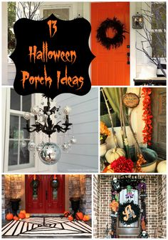 Halloween Porch Ideas- feather wreath, spider pumpkin, stacked pumpkins, jar w/ candy corn + candle.....