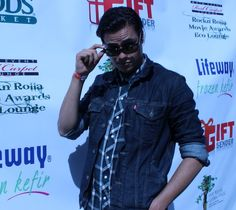 Actor Kiowa Gordon in Serengeti Eyewear (world's best driving glasses) at Rock n Rolla Movie Awards Eco Party