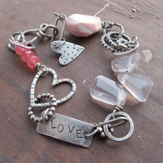 HEART Bracelet PINK Sterling Silver Valentines Day Gift by artdi