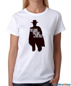 Camiseta cine El bueno, el feo y el malo de Sergio Leone. Diseño inspirado en la película para Filmfilicoshop la tienda de camisetas de cine.