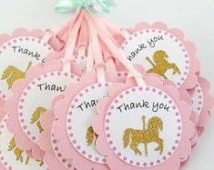Carousel horse birthday party favor Thank you tags in pink and gold. Carousel Birthday Parties, Carousel Party, Birthday Party Favors, 2nd Birthday, Party Favor Tags, Party Invitations, Invites, Thank You Party, Baby Shower Themes
