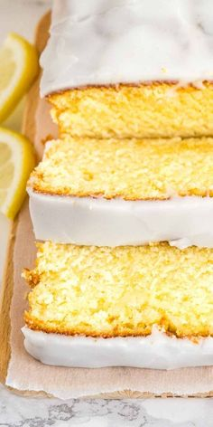 This moist Lemon Cake Recipe is fluffy, tangy and so easy to make from scratch! Every bite of this supremely moist pound cake is bursting with fresh lemon flavor and the easy lemon glaze on top will have you hooked after just one bite. Lemon Dessert Recipes, Homemade Cake Recipes, Pound Cake Recipes, Lemon Recipes, Baking Recipes, Delicious Desserts, Lemon Honey Cake Recipe, Fluffy Lemon Cake Recipe, Easy Lemon Cake