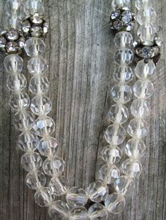 Vintage Glass Crystal and Rhinestone Bead Necklace by mimiyaya, $38.00
