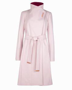 Long wool wrap coat - Pale Pink   Jackets & Coats   Ted Baker ROW