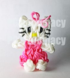 Hello Kitty made on the Rainbow Loom. Sale item. No pattern available. Go HK!!,