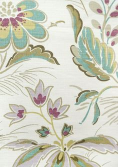 Montacute Fabric Contemporary Elizabethan style, large floral print fabric in cream, with mute greens and mauves.
