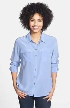 Two+by+Vince+Camuto+Silk+Utility+Blouse+(Regular+&+Petite)+available+at+#Nordstrom
