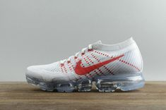 2018 Really Cheap Nike Air Vapormax Flyknit Pure Platinum Red 849558 006 Shoe Buy Sneakers, Air Max Sneakers, New Nike Air, Nike Air Vapormax, Lebron 15 Shoes, New Style Shoes, Boost Shoes, Popular Shoes, Workout Shoes