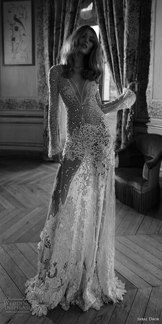 inba dror fall 2018 bridal long sleeves deep v neck full embellishment sexy modified a line wedding dress open back chapel train (4) mv -- Inbal Dror Fall 2018 Wedding Dresses Lookbook #wedding #bridal #weddings