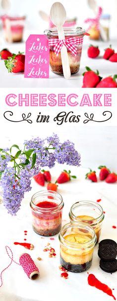 Ein tolles Mitbringsel für die Grillparty zum Nachtisch - Cheesecake im Glas! Mit Anhänger-Freebies zum Runterladen.