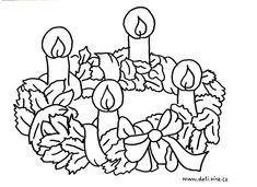 Výsledek obrázku pro adventní věnec omalovánka Wool Applique, Advent, Coloring Pages, Birthdays, Clouds, Drawings, Prints, Christmas, Painting