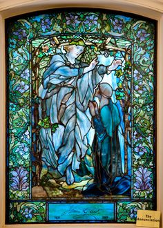 He became incarnate from the Virgin Mary . The Annunciation, Tiffany glass window, lower level, Arlington Street Church, Boston. Stained Glass Church, Stained Glass Art, Stained Glass Windows, Leaded Glass, Beveled Glass, Mosaic Glass, Tiffany Stained Glass, Tiffany Glass, Art Nouveau