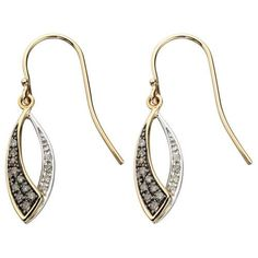 Brown and White Diamond Yellow and White Gold Marquise Drop Earrings – Earrings Express