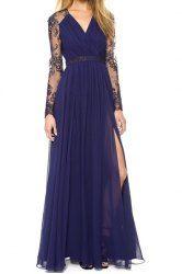 Vintage Plunging Neck Long Sleeve Furcal Spliced Dress For Women (DEEP BLUE,M) | Sammydress.com Mobile