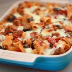 Warm and cozy, this rigatoni has spicy italian turkey sausages, eggplant, and two kinds of cheese.