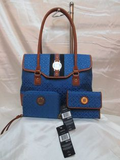 Tommy Hilfiger Flap Satchel 6929401 491 + French Wallet + Phone Wrst Blue Brown #TommyHilfiger #FlapSatchel