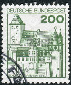 german castle stamps: GERMANY - CIRCA 1977: Postage stamp printed in Germany, shows Burresheim Castle, circa 1977