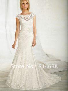 2014 New Fashion Elegant Sexy Bridal Mermaid Lace Wedding Dress Cap Sleeves Custom Made New Free Shipping US $199.00