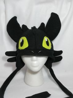 Toothless How to Train Your Dragon Fleece Hat -MADE TO ORDER- via Etsy