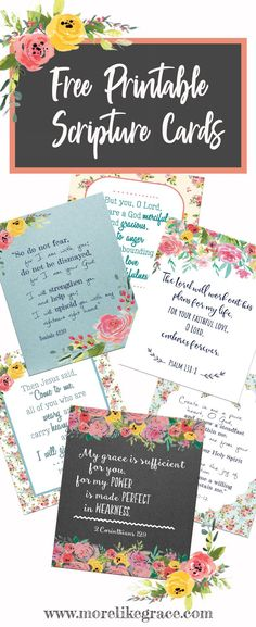 Free Printable Scripture Cards | More Like Grace | Scripture | Free Printable | Christian Encouragement | Verses for Hard Days | Scripture Promises | Scripture Cards | #freeprintables | #christianwomen | #freescripturecards