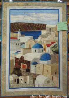 Santorini Afternoon by Fran McNamee. The technique came from Sue Rasmussen's class. 2015 DVQ show (California).  Photo by Quilt Inspiration.