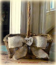 Flower Girl Basket Rustic Fall Wedding Personalized Custom. $26.00, via Etsy.
