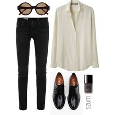 A fashion look from April 2013 featuring Les Prairies de Paris blouses, AG Adriano Goldschmied jeans and Brixton oxfords. Browse and shop related looks.