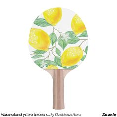 Shop Watercolored yellow lemons on white Ping-Pong paddle created by EllenMariesHome. Sorority Canvas, Sorority Paddles, Sorority Crafts, Sorority Recruitment, Lemon Watercolor, Lemon Party, Ping Pong Paddles, Cooler Painting, Frat Coolers