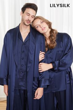 Luxury Silk Couple Pajamas Set #silk #silkpajamas #hisandher
