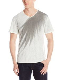 Calvin Klein Jeans Men's Winged V Neck Tee, Mystic Grey, Small