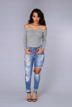 - Available in Grey and Rose - Off Shoulder - Ribbed Heathered Knit - Long Sleeve - Thong Bodysuit - Clip Closure - All Bodysuits are FINAL SALE - Made in USA - 48% Rayon 48% Polyester 4% Spandex