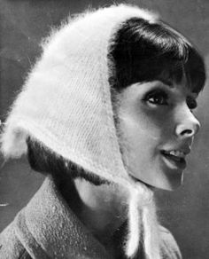 Super cute vintage 60s Angora head scarf knitting pattern - sooo Audrey Hepburn!