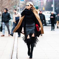 camel coat + fringe skirt // winter street style
